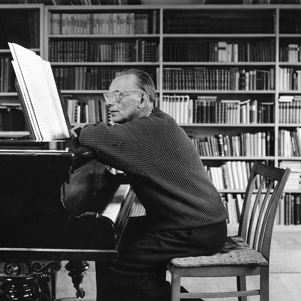 (Carl Orff in his study in Dießen, 1956)
