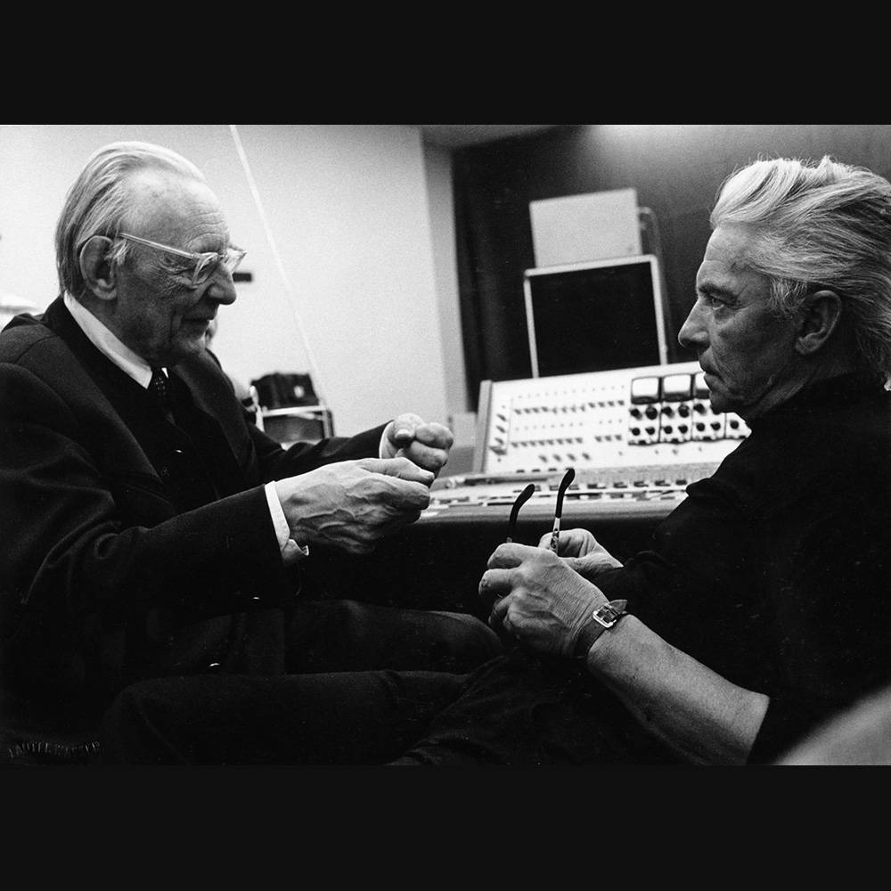 »Towards the end of the 1920s, [...] experiments were undertaken in musical broadcasts via large open-air loudspeakers.«[1] (Carl Orff with Herbert von Karajan during a record recording session 1973)